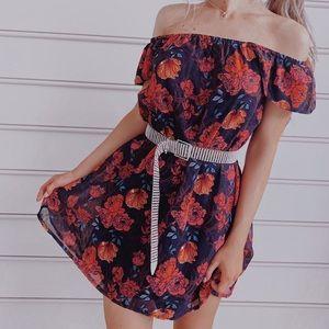 Floral Bardot dress missguided